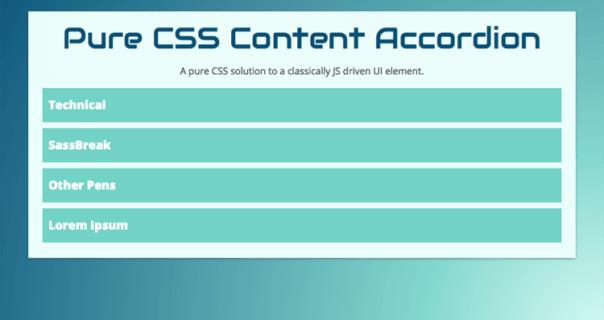 Easily Customizable Responsive Pure CSS Accordion Example