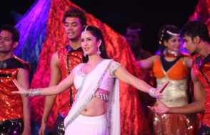 Superb Sexy Katrina Kaif in Saree with red Bindi